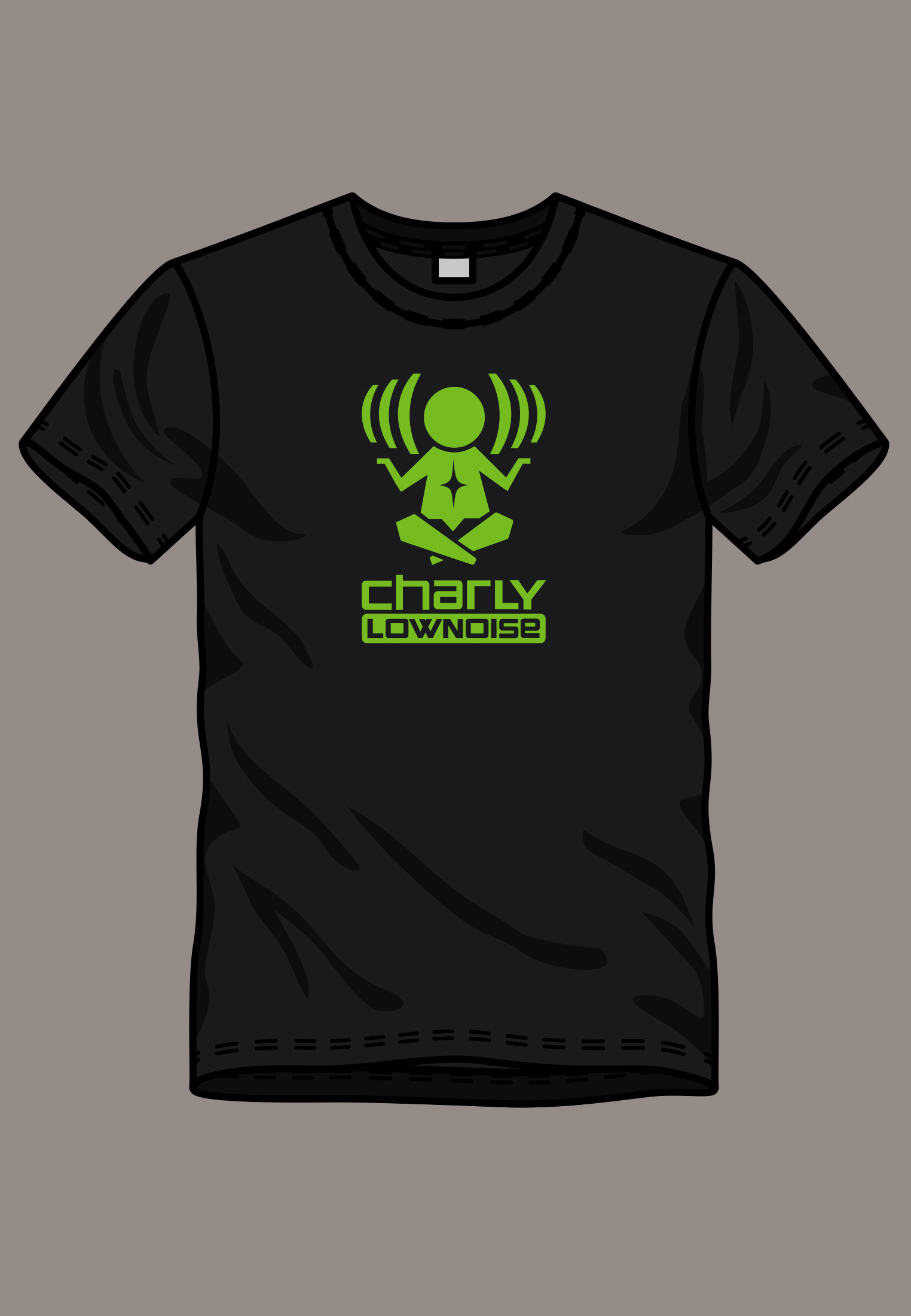 Charly Lownoise t-shirt green logo